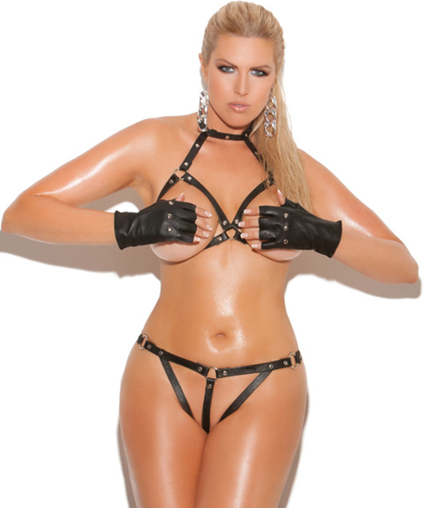 Leather Bra & G-String w Open Bust & Crotch - O/S and XL