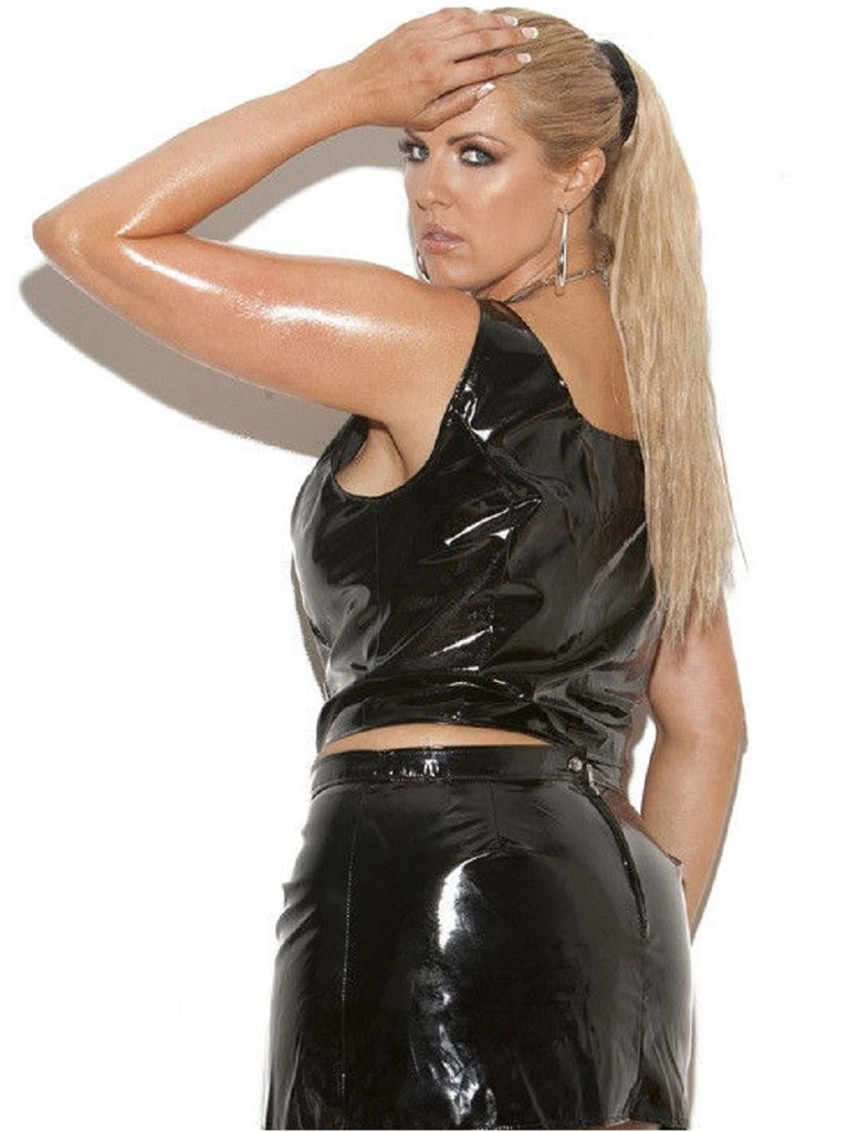 Vinyl pencil skirt with back zipper- up to 3X