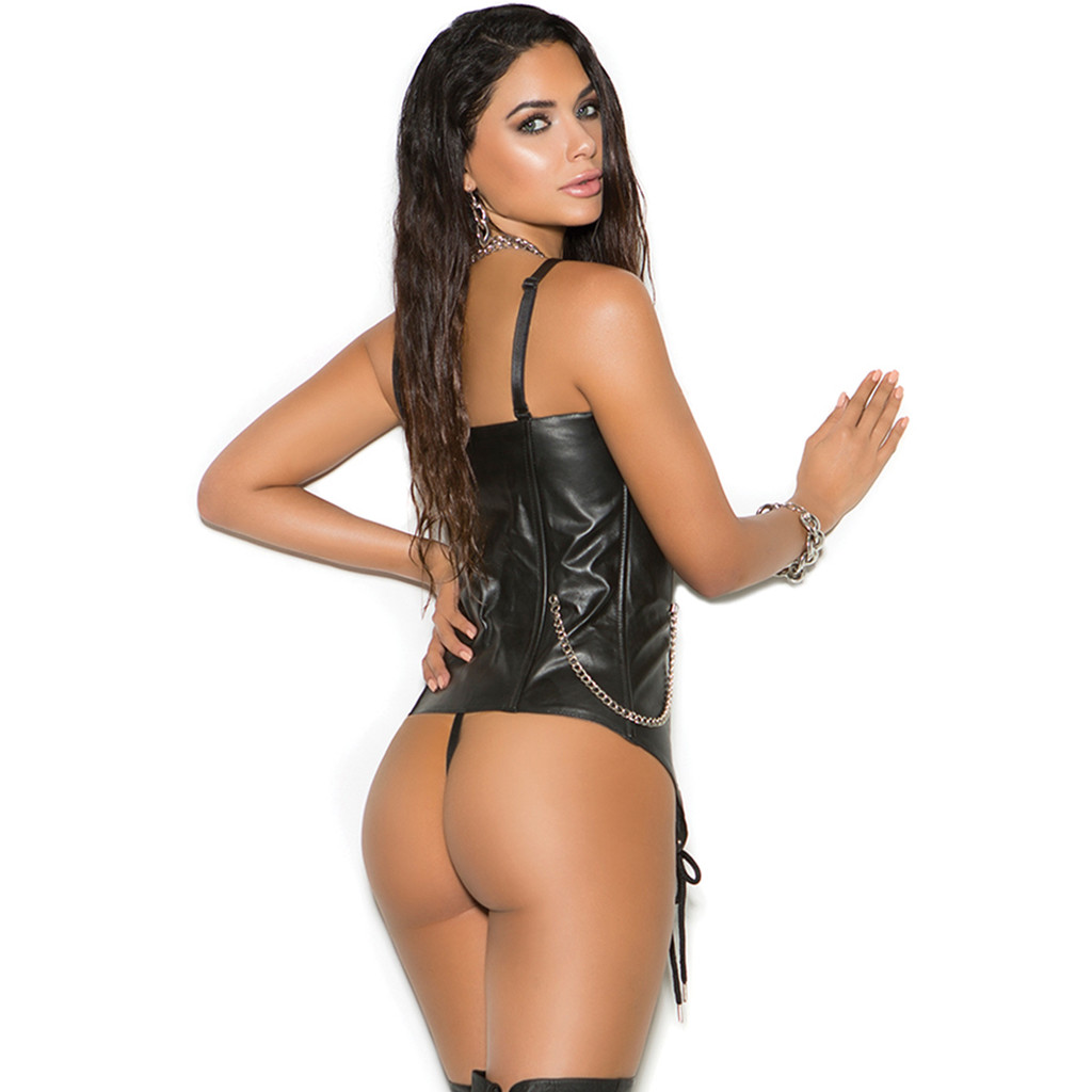 Leather Bustier w Front Zipper and Buckle Detail - Sz 32 - 44