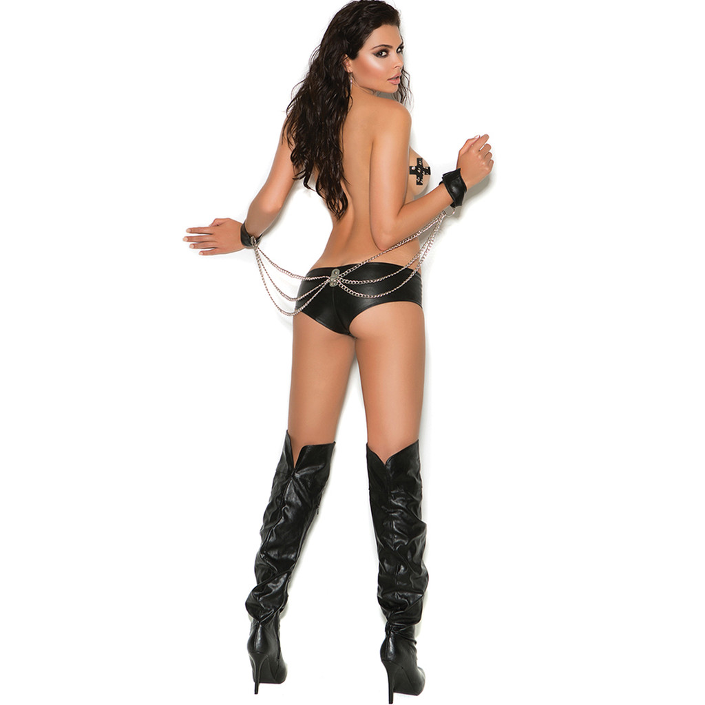 Leather Cheeky Booty Shorts w Attached Wrist Restraints - Small to XL