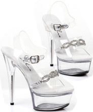 "Clear Sandal w 6"" Heel and Rhinestone Chain Link Look Detail - Sz 5-14"