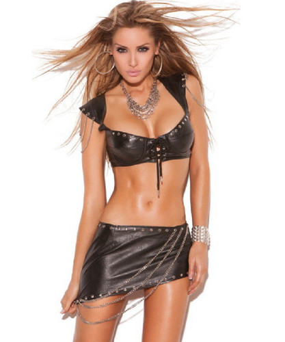 Leather Bra Top w Cap Sleeves - Sizes 32 - 38 - CLEARANCE!