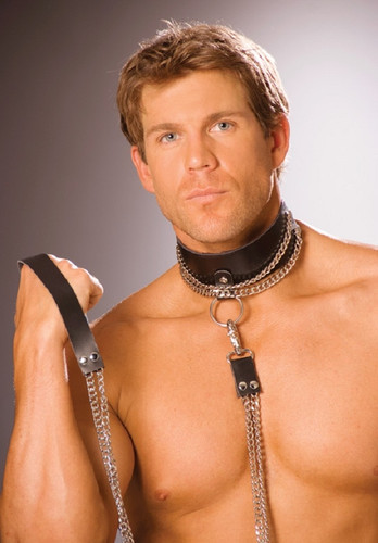 Leather choker w chain & detachable leash