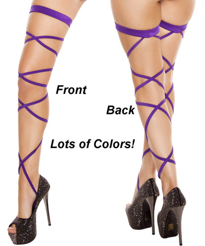 Pair of Leg Straps w Attached Thigh Garters - LOTS of Colors - Genuine Roma Product