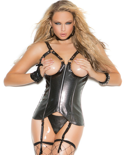 Open Bust Vinyl Corset w Zipper Front & Matching G-String - Sizes 32 to 44