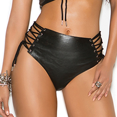 Leather Booty Shorts w Lace Up Sides - Matching Top Sold Separately  - Small to XL