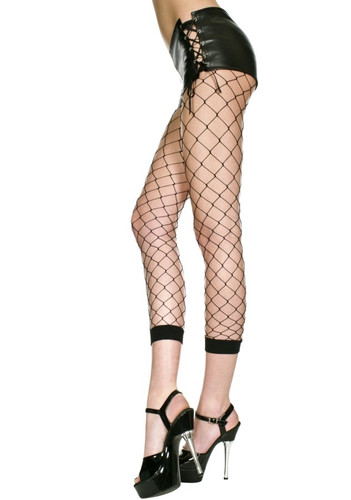 Black Diamond Net Capri Footless Leggings