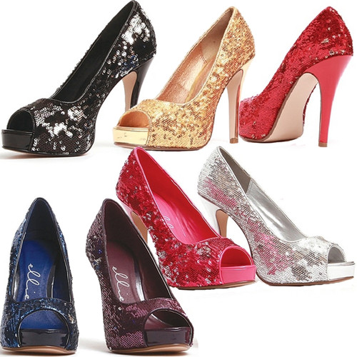 "4"" Open Toe Glitter Pumps - 7 Colors in Sizes 5 - 12"