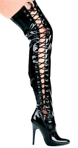 "5"" Stiletto Thigh High Boot w Side Laces"