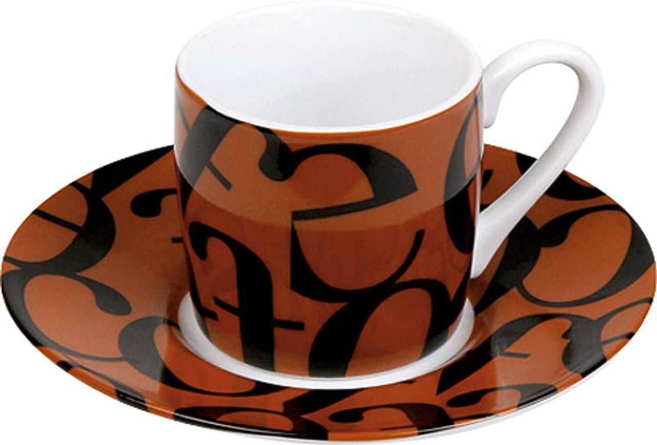 Konitz Espresso Cup and Saucer Set - Scrip Collage - Brown Black (WK 1150530240)