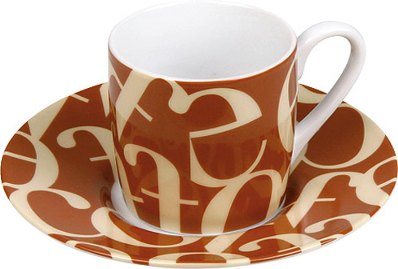 Espresso set - Cup/Saucer Script Brown Cream (WK 1150530241)