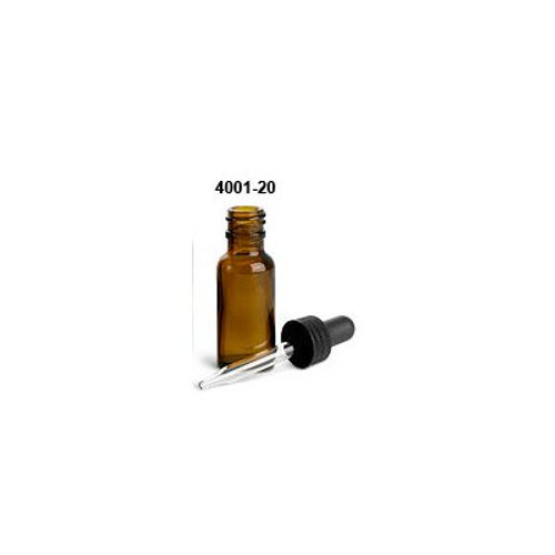 .5 oz Amber Glass Boston Round with Black Bulb Glass Dropper