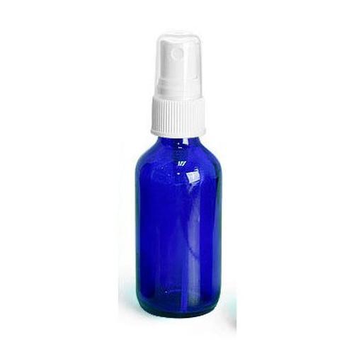 4 oz Cobalt Blue Glass Boston Round with White Fine Mist Sprayer