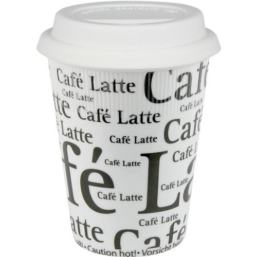 Konitz Travel Mug - Small - Cafe Latte Writing - Black on White