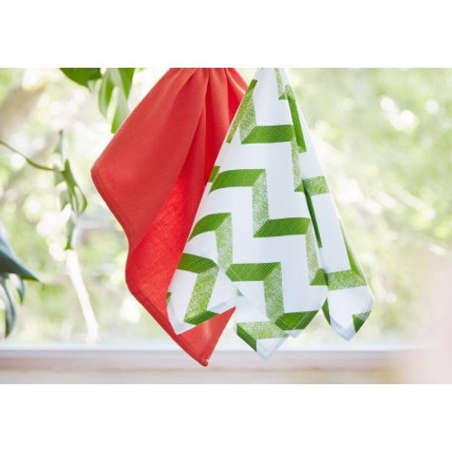 Ladelle Aluna Square Kitchen Towel Set - Green and Coral (LD 30345/50 GC)