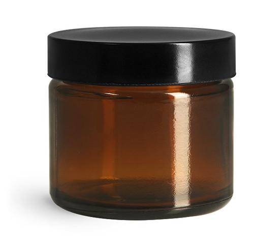 2 oz Amber Glass Straight Sided Jar with Black Phenolic PV Lined Cap (TMC 4053-05)