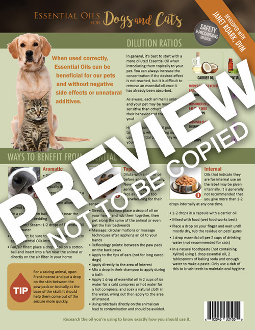 EO Tools Essential Oils for Dogs & Cats Information Sheet (EOT EOPetIS)