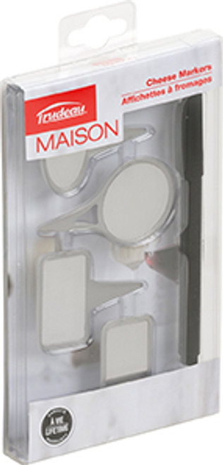 Trudeau Mason Set of 4 Stainless Steel Cheese Markers with Pen (TR 0579005)