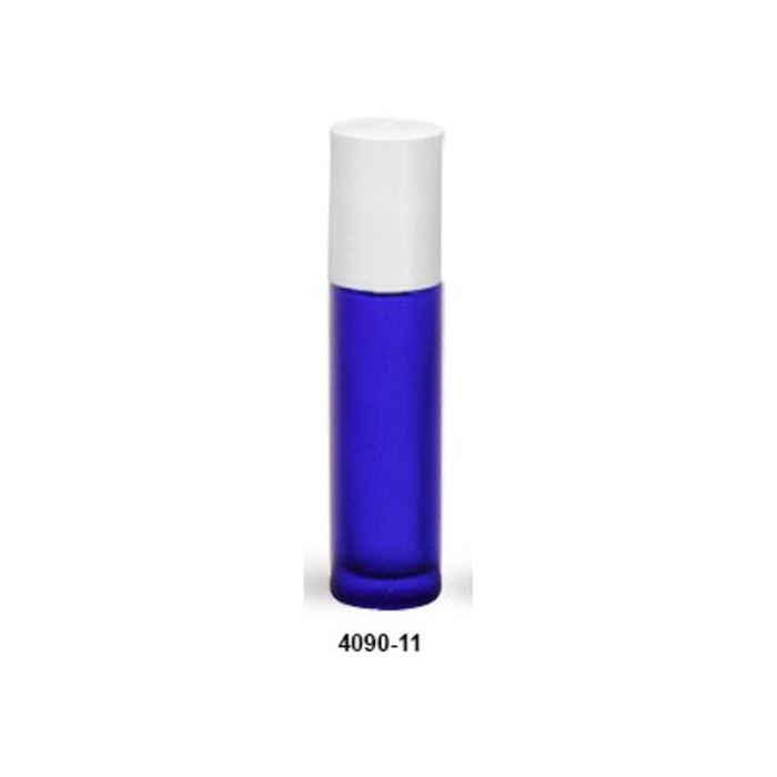 .35 oz Colbalt Blue Rollerball Bottle with White Top