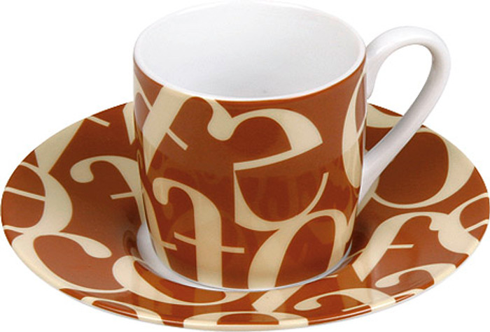 Espresso set - Cup/Saucer Script Brown Cream (WK 1150530241)