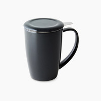 FORLIFE Curve Tall Tea Mug with Infuser in Black
