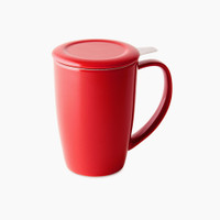 FORLIFE Curve Tall Tea Mug with Infuser in Red