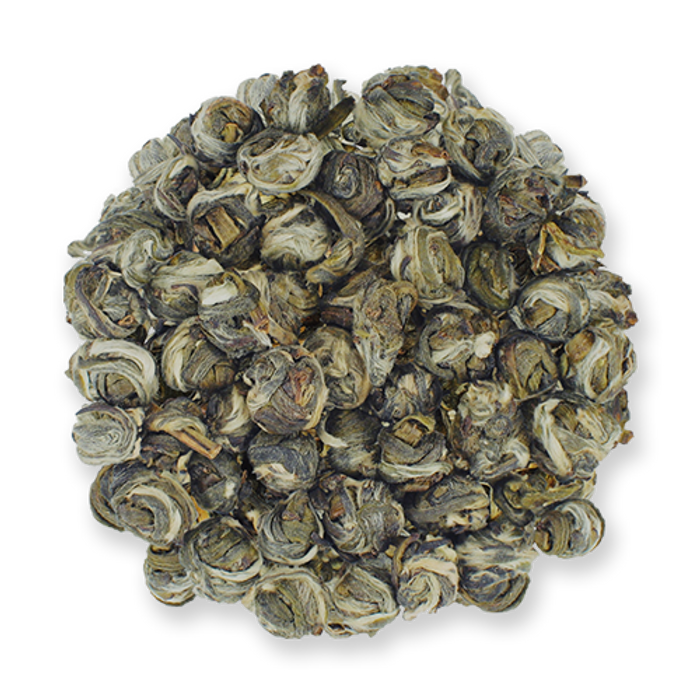 Jasmine Pearls loose leaf green tea from The Jasmine Pearl Tea Co.