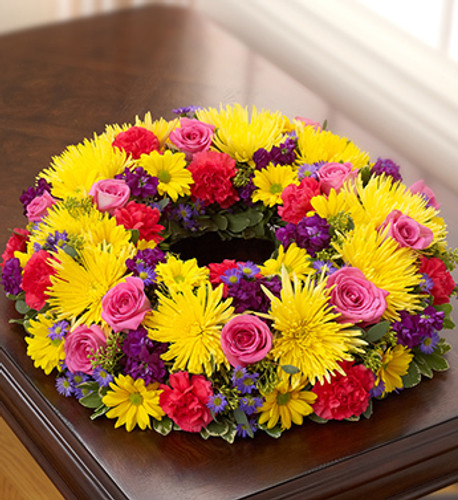 Cheerful Picture Memorial Wreath