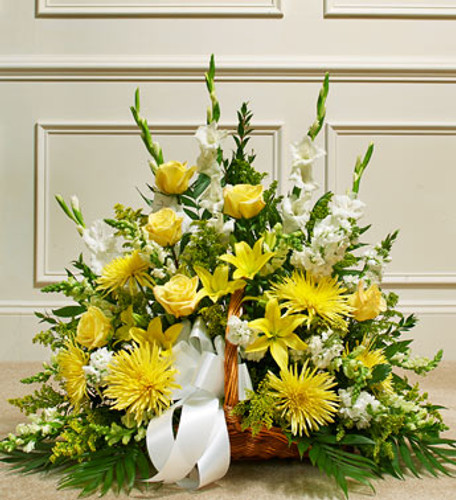 Yellow & White Memories Funeral Wicker Basket