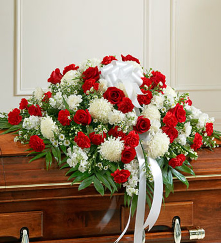 Red & White Memories Casket Spray
