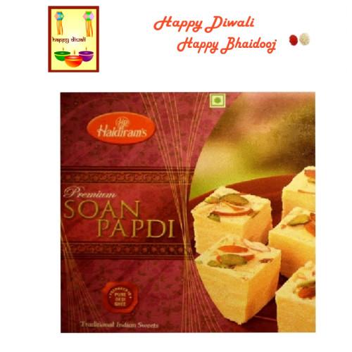 Diwali / Bhaidooj  Sweets- Haldiram Soan Papdi with Diwali Greeting Card and Roli Tika
