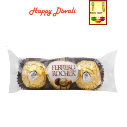 Diwali  Chocolates- Ferrero Rocher Chocolates (3pc) with Diwali Greeting Card