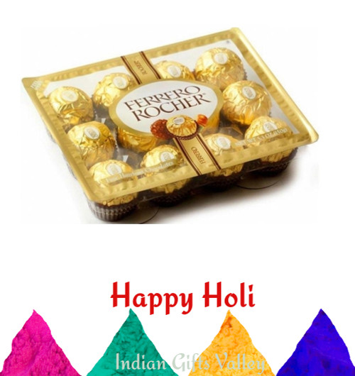 Holi Gifts - Ferrero Rocher Chocolates (12pc) with Assorted Holi Colors
