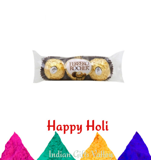 Holi Gifts- Ferrero Rocher Chocolates (3pc) with with Assorted Holi Colors