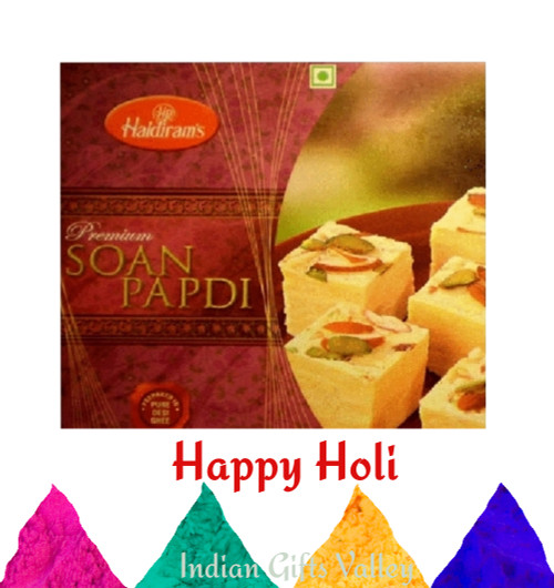 Holi Sweets - Haldiram Soan Papdi (250 Gms) with Assorted Holi Colors