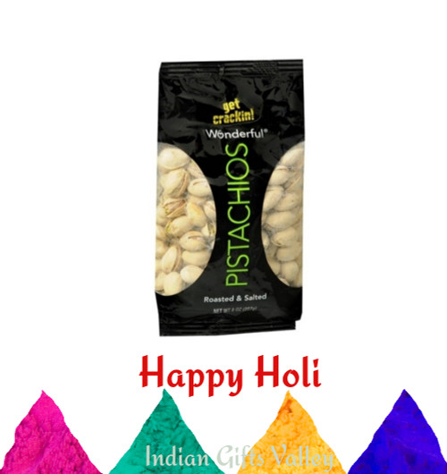 Holi Dryfruit - Wonderful Pistachios (7 Oz) with Assorted Holi Colors