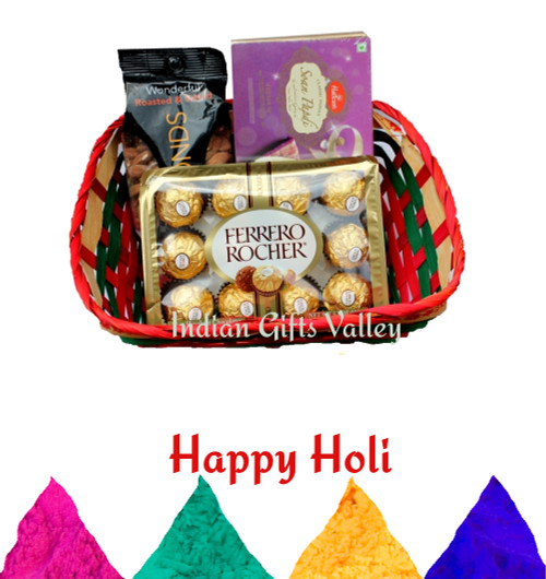 Holi Gift Hamper - Soan Papdi, Ferrero Rocher and Almonds with Holi Colors