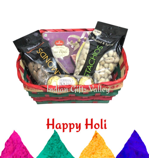 Holi Gift Hamper - Soan Papdi, Ferrero Rocher, Almonds, Pistachios and Holi Colors