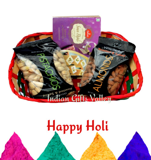 Holi Gift Hamper - Soan Papdi, Almonds and Pistachios with Holi Colors