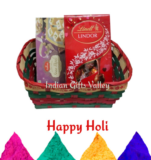 Holi Gift Hamper - Haldiram Soan Papdi, Lindt Lindor Chocolate with Holi Colors