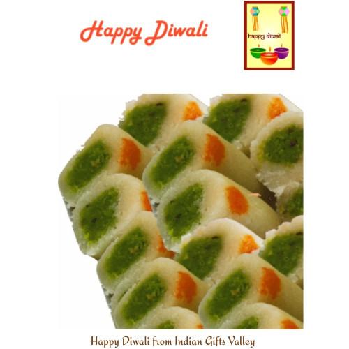 Diwali  Sweets- Kaju Roll with Diwali Greeting Card