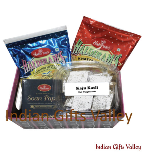 Exclusive Gift Hamper - Kaju Katli, Haldiram Soan Papdi, Namkeens in a Beautiful Basket