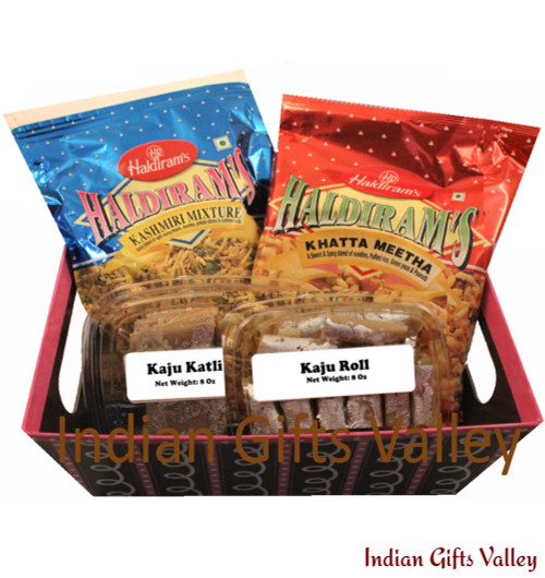 Gift Hamper - Kaju Katli, Kaju Roll, Haldiram Namkeens in a Beautiful Basket