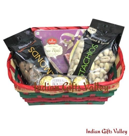 Gift Hamper - Soan Papdi, Ferrero Rocher, Almonds, Pistachios