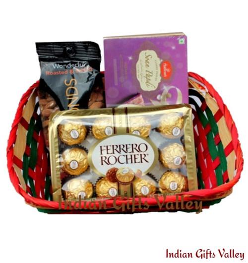 Gift Hamper - Soan Papdi, Ferrero Rocher and Almonds