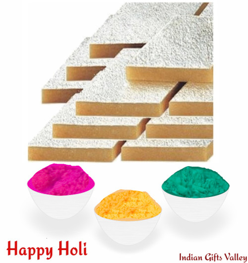Holi Sweets - Kaju Katli (8 Oz) with Assorted Holi Colors