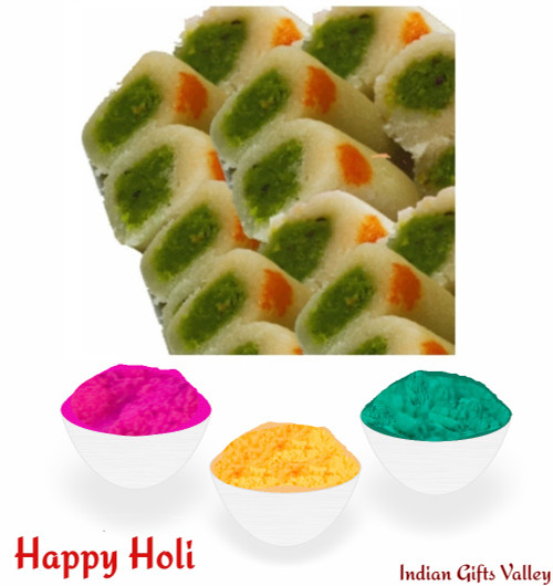 Holi Sweets - Kaju Pista Roll (8 Oz) with Assorted Holi Colors