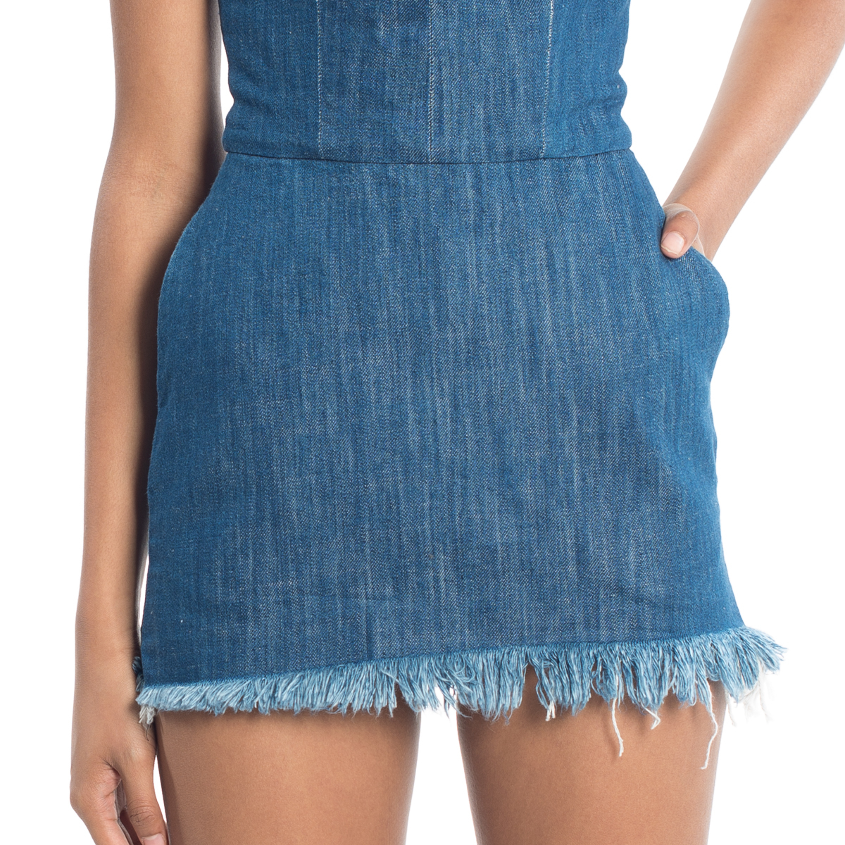 Chaka Denim Fringe Dress