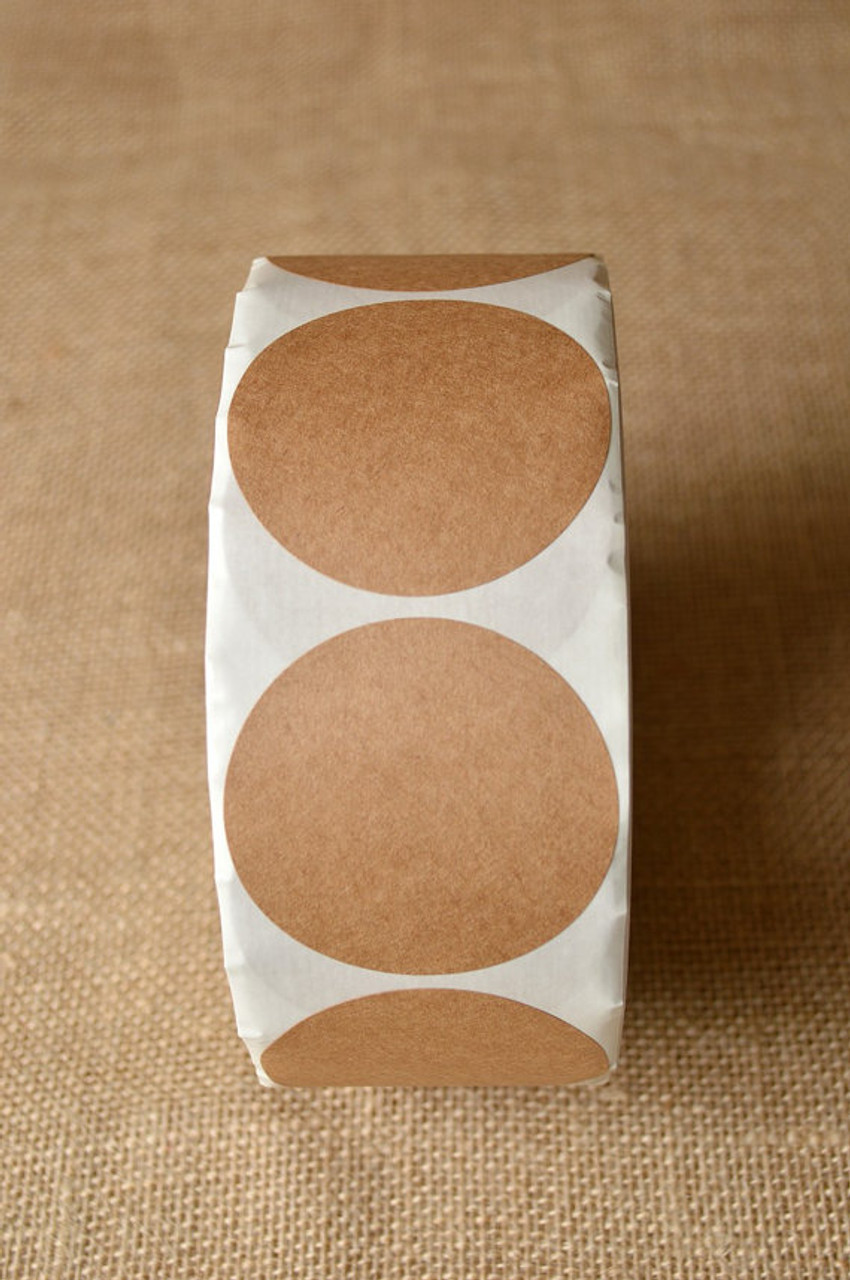 Sticker round brown kraft sizes 1 5 to 3 5 inch
