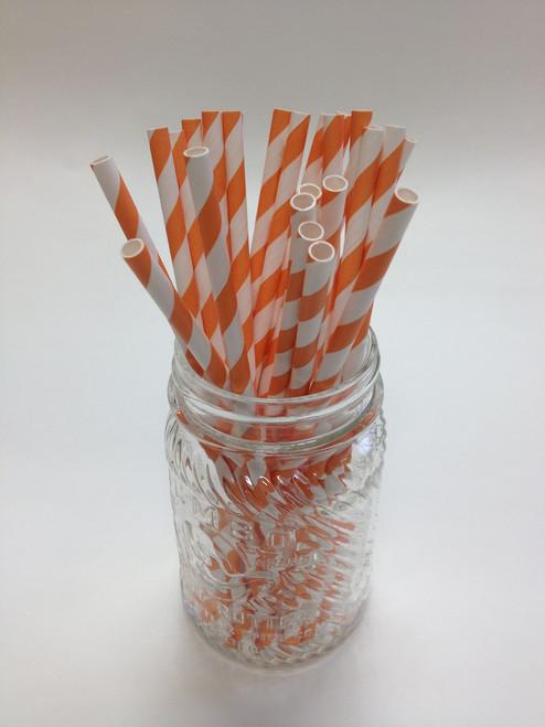 Pumpkin Stripe Paper Drinking Straws - made in USA